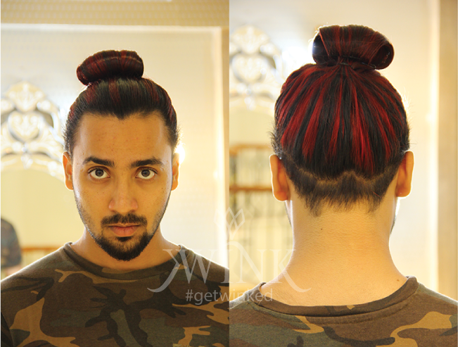 A burgundy hairstyle for men