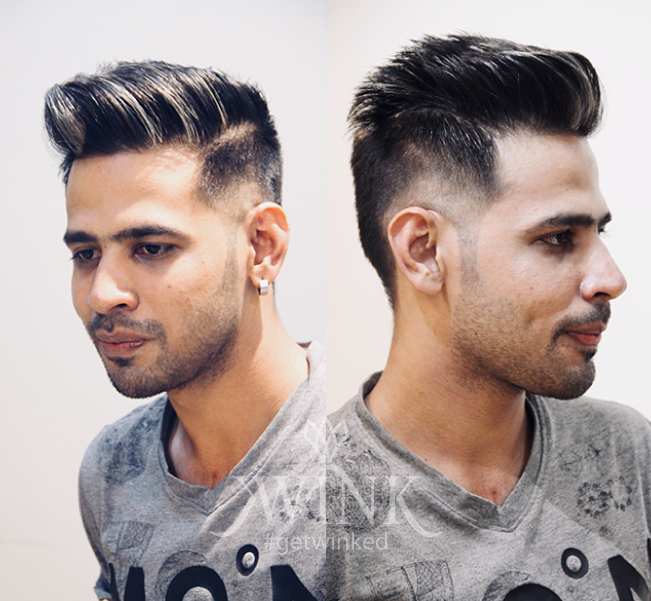 Long spikes and partitioned haircut with added sprinkle of gold