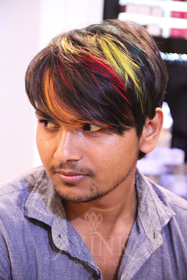 Multicolored hairstyle for men