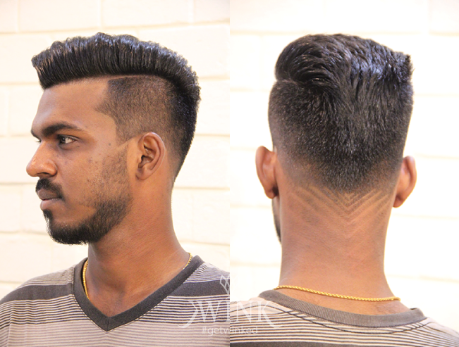 Short hair, faded side haircut with slicked partition