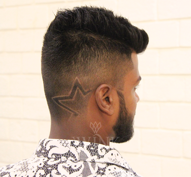 Short spikes and high fade hairstyle with star cropped