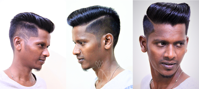 Slick Pompadour with thick side partitions