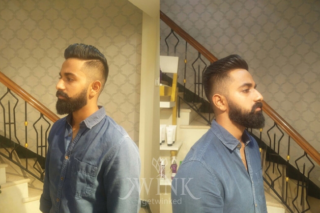 Trimmed sides Haircut for dense beard
