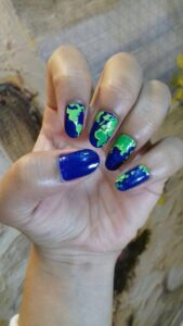 GO GREEN AND BLUE TOO - Nail Art Designs For Chennai Lovers